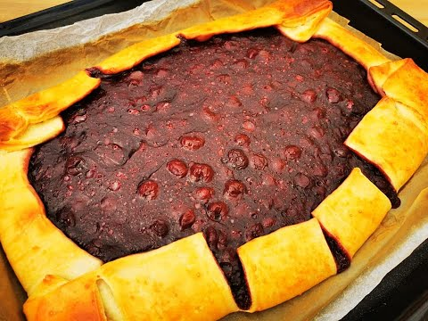 köstlicher-kuchen-in-4-minuten-vorbereitet-(+backzeit)!-kirschkuchen-mit-hefeteig,-saulecker!