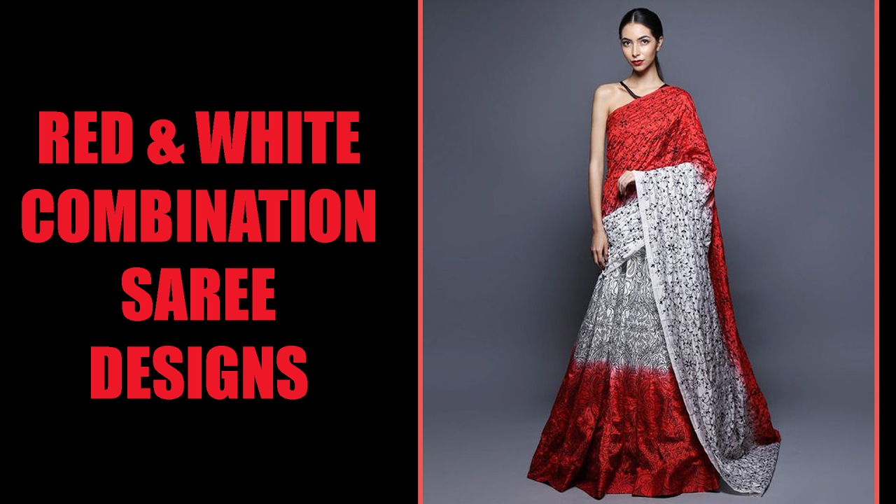 Red And White Combination Saree Designs