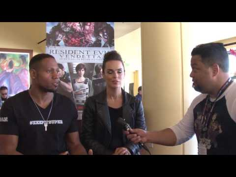 with Erin Cahill and Dante Carver of Resident Evil Vendetta at SDCC 2017