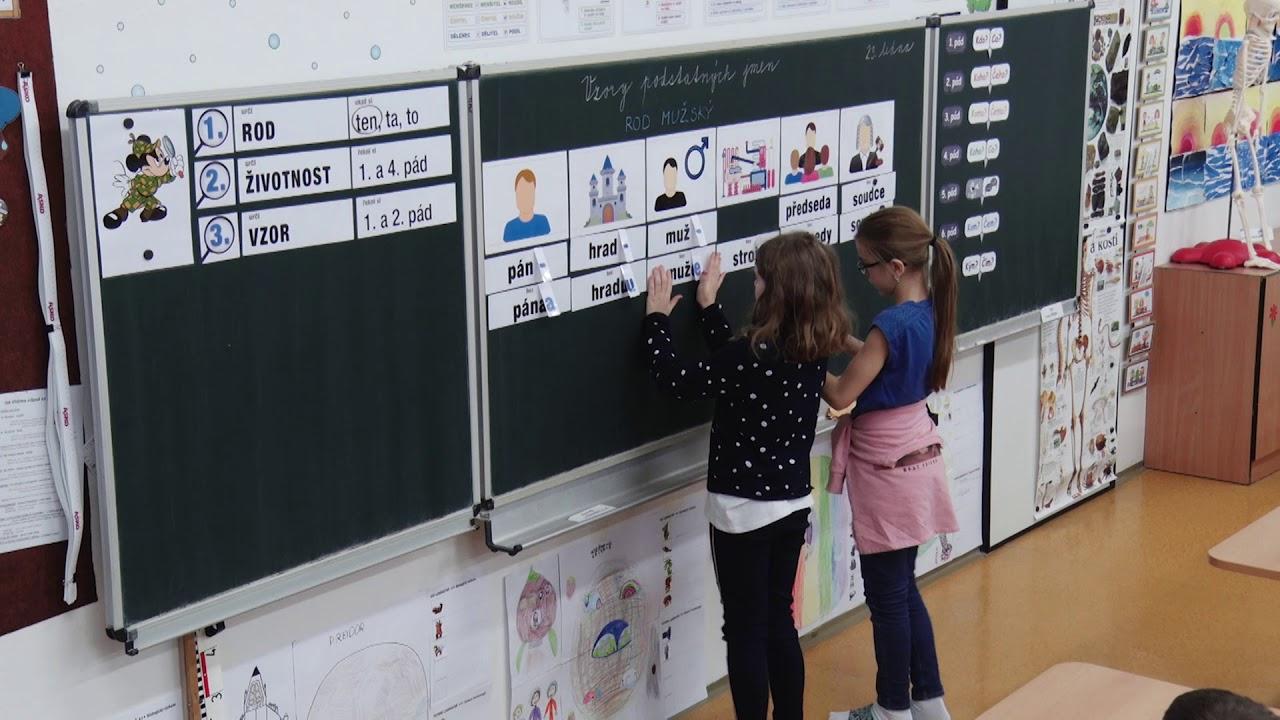 Vyučovací hodina českého jazyka na 1. stupni ZŠ – algoritmus vyvozování vzorů rodu mužského