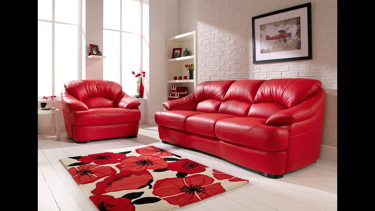 Good Red Leather Sofa   YouTube