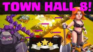Clash of Clans - Town Hall 8 Clan War Attack Strategies for THREE STAR WINS!