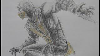 Speed drawing of Scorpion Mortal Kombat X - Alp .K