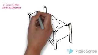 как нарисовать кровать - How to draw a bed -  Как нарисовать милые рисунки