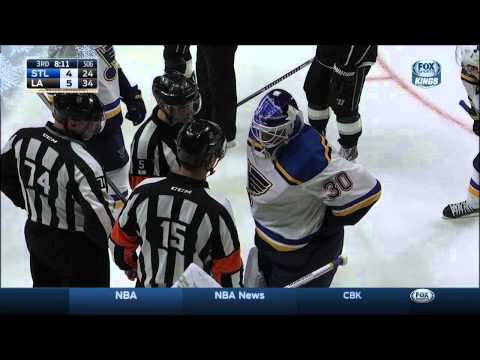 Puck lost in Marty Brodeur's pads lulz St. Louis Blues vs LA Kings Dec 18 2014 NHL