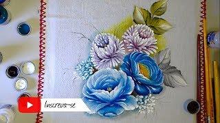 Aprenda a Pintar no Tecido Rosas e Crisântemo