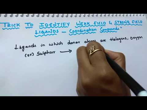 Trick to identify weak field and strong field ligands/coordination compounds /class 12 chemistry.