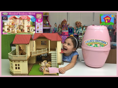 Huge Calico Critters Town Home Doll House & Giant Egg Surprise W/ Babies!