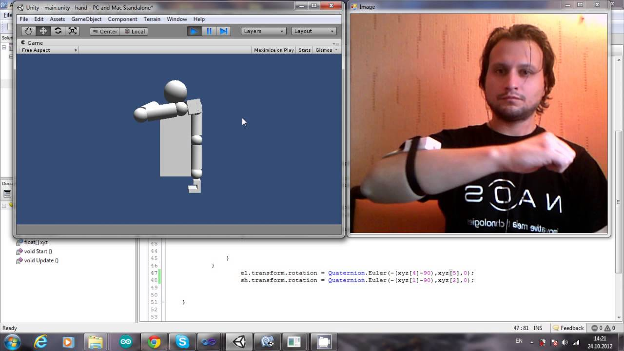Motion capture with arduino to unity youtube