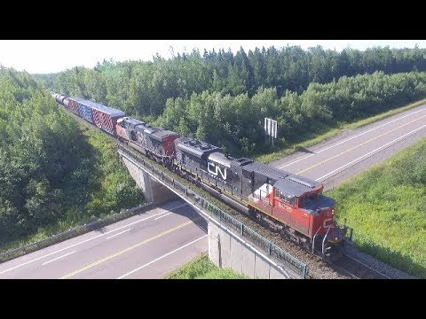 Thumbnail: DJI Phantom 3 Aerial Video - CN Train 305 w/DPU at Berry Mills, NB (Aug 14, 2017)