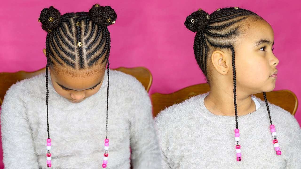Fulani Inspired Kids Cornrows || Back To School Braids Tutorial || Canerows Alicia Keys Braids ...