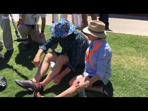 Bill Murray's travails with sunblock and fans before his Pro-Am round at Dean & DeLuca Invitational