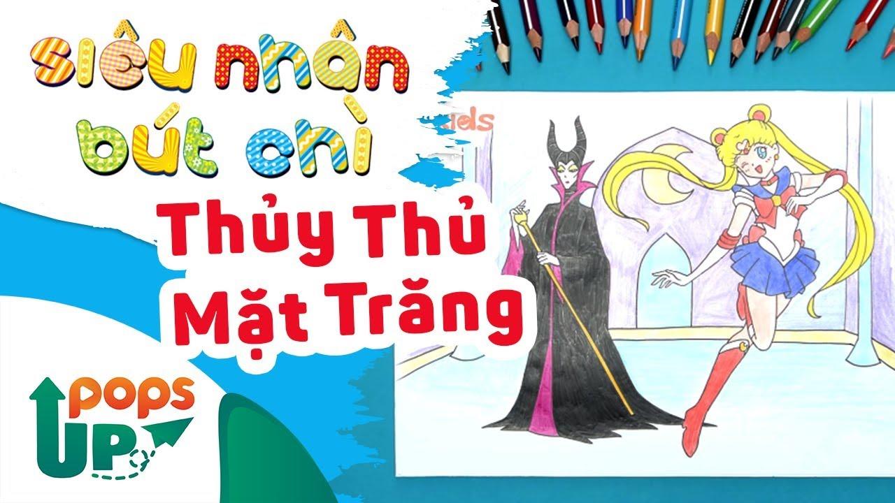 Hướng Dẫn Vẽ Thủy Thủ Mặt Trăng, Phù Thủy Maleficent - Siêu Nhân Bút Chì | Bé Học Vẽ Tranh