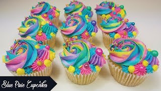How to Make Rainbow Coloured Cupcakes | Multi Coloured Piping Techniques Tutorial