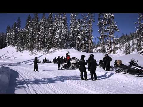 Idiot Jumping Off Bridge with Snowmobile into River Yellowstone Winter 2011