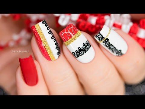 Red and White Nail Art / Дизайн ногтей с сочетанием белого и красного