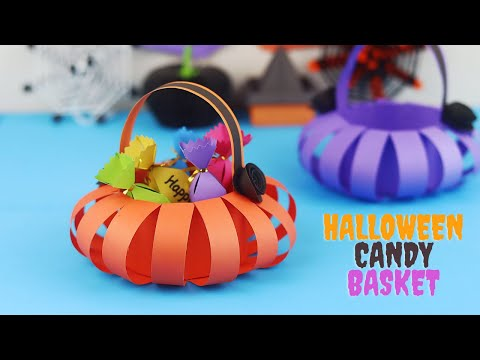 DIY Halloween Paper Pumpkin Basket | Halloween Candy Holder | Halloween Paper Crafts
