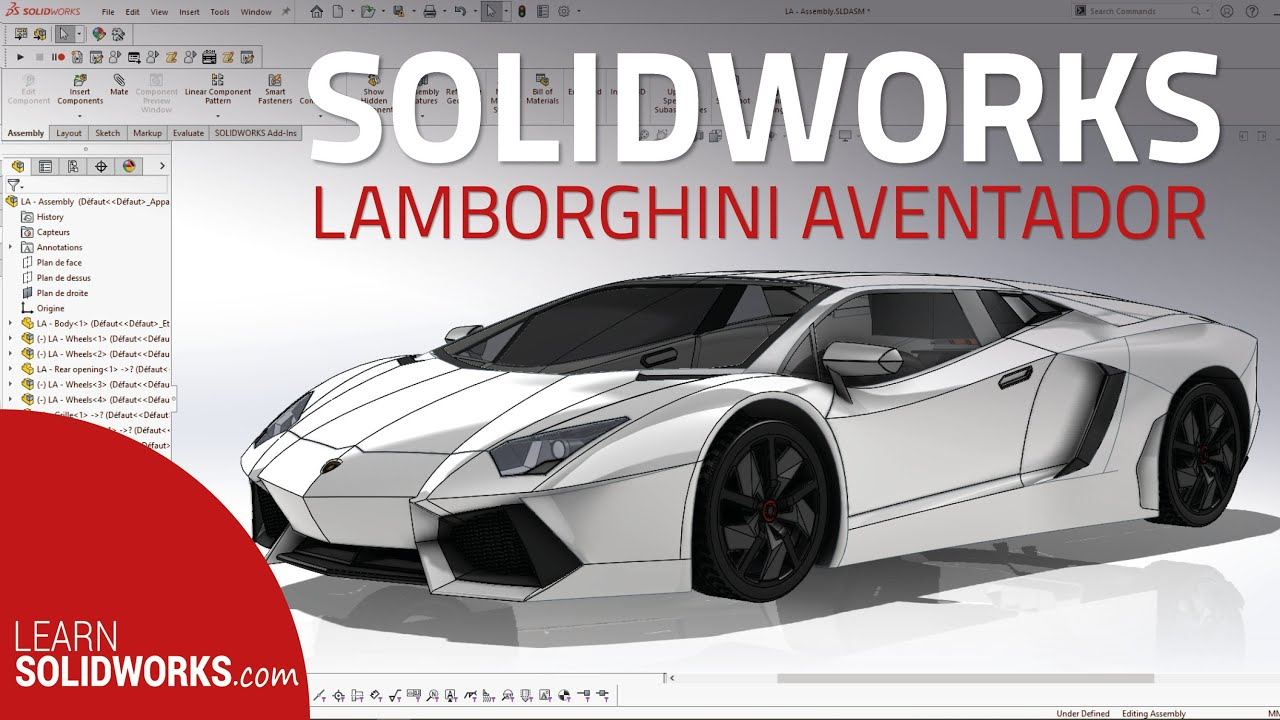 Solidworks Lamborghini Aventador Tutorial In 5min Youtube