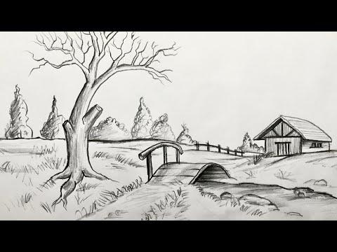 Manzara Resmi Çizimi - Karakalem Çizimleri    Resim Çizme Teknikleri    Landscape Drawing