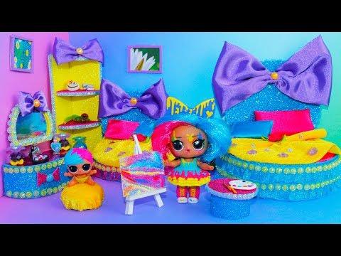 DIY Miniature Dollhouse Room~LOL SPLATTERS Families Surprise DOLLS