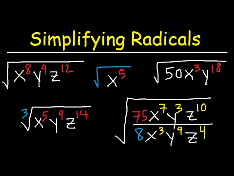 Simplifying Radicals With Variables, Exponents, Fractions, Cube Roots - Algebra