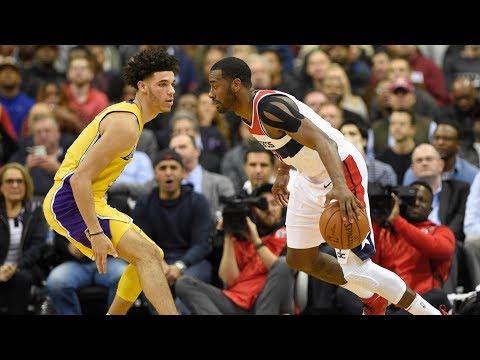 John Wall vs Lonzo Ball Rematch! Wall Dunks on Lopez! Lakers vs Wizards 2017-18 Season