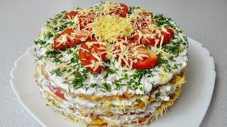 Легкий  КАБАЧКОВЫЙ ТОРТ с помидорами и сыром