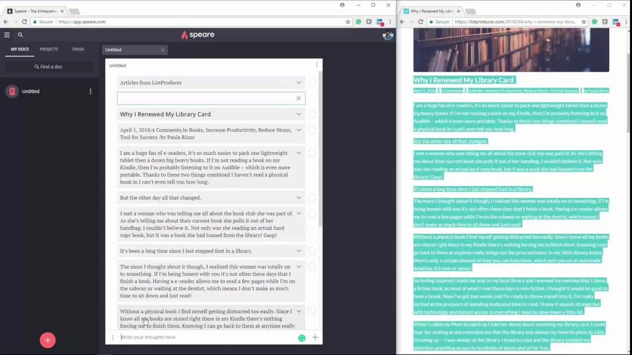 PREVIOUS VERSION: Copying online text into Speare and annotating it