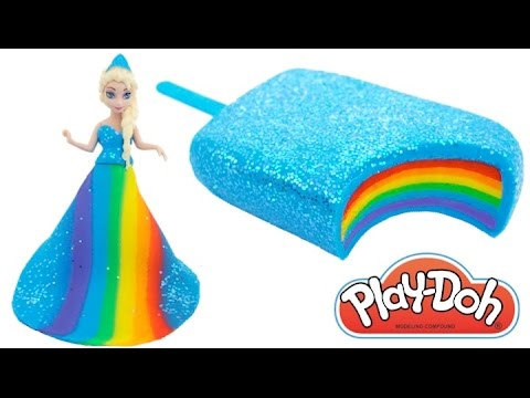 Thumbnail: Play Doh Frozen! Make Rainbow Glitter Ice Cream & Elsa Dress with Play Dough Clay * RainbowLearning