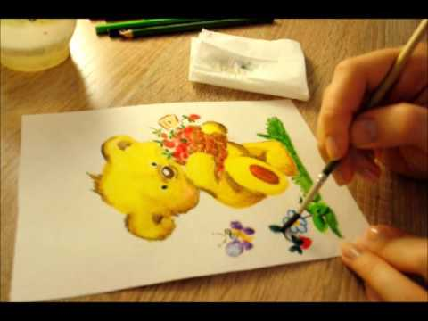 #2 Рисуем забавного мишку акварельными карандашами (с размывкой)