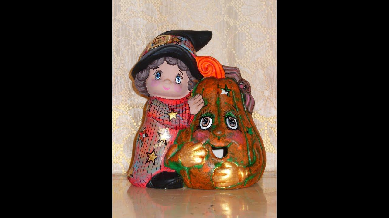 Diy c mo pintar en cer mica una bruja de halloween youtube - Pintar una calabaza de halloween ...