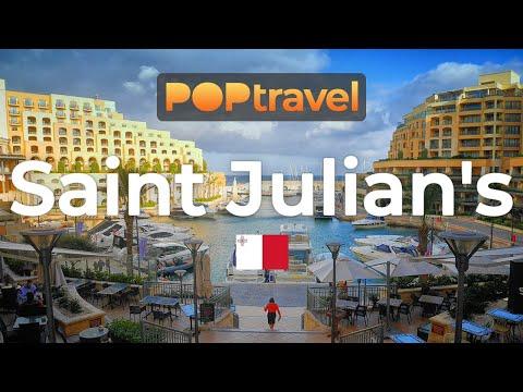 Walking In ST. JULIAN'S / Malta 🇲🇹- Tour Around Paceville - 4K 60fps (UHD)