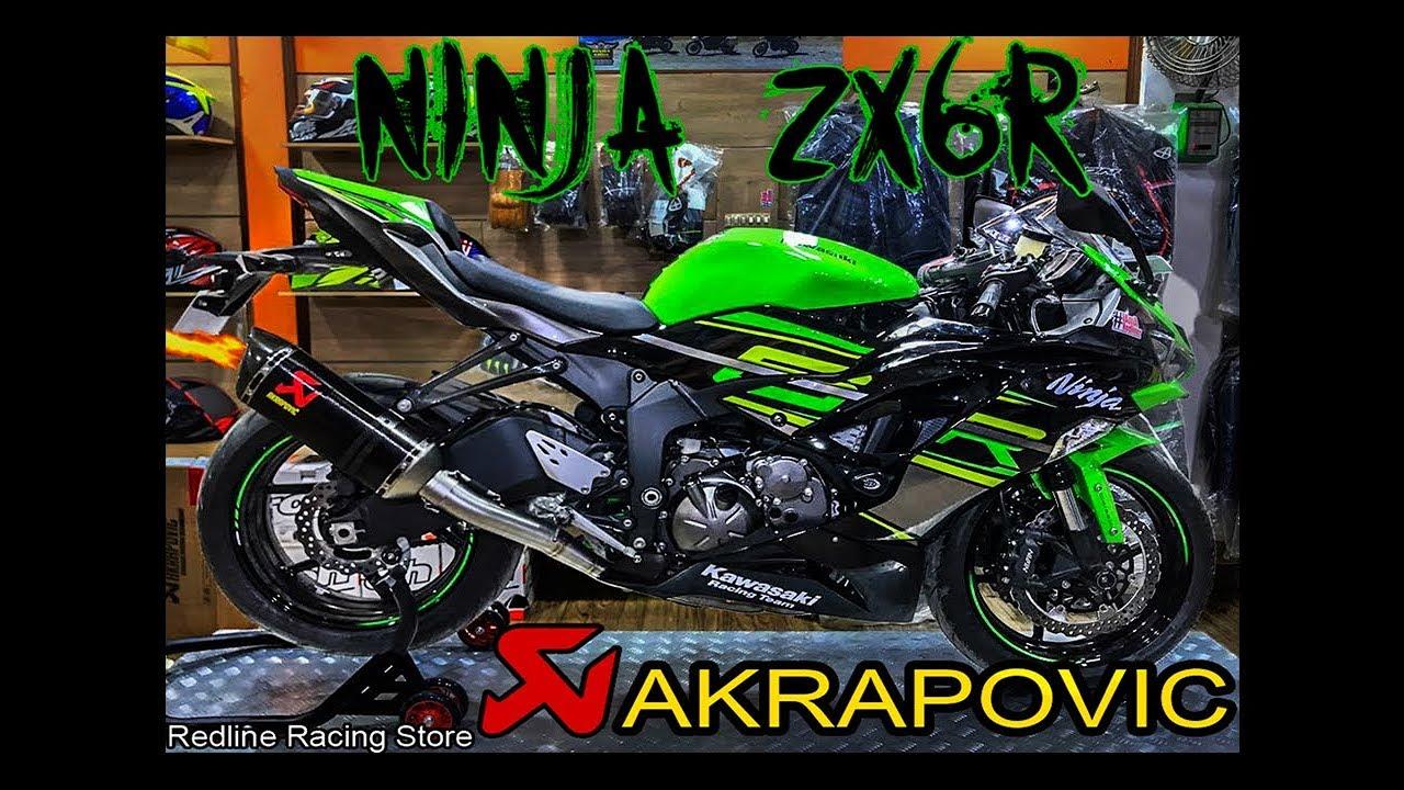 KAWASAKI NINJA ZX6r Akrapovic Full System Exhaust || Startup Video ||  Redline Racing Store ||