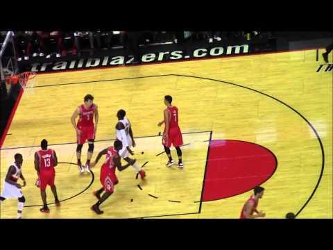 Jeremy Lin and Wesley Matthews Fouls Houston Rockets VS Portland Trail Blazers NBA Nov 2012