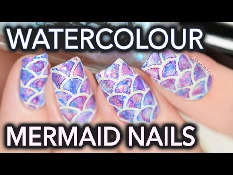 Watercolour mermaid nail art SO EASY!!