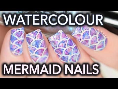Watercolour Mermaid Nail Art SO EASY!!