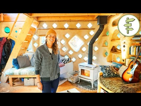 Woman's Magical Cob House Built with Earth & Reclaimed Materials