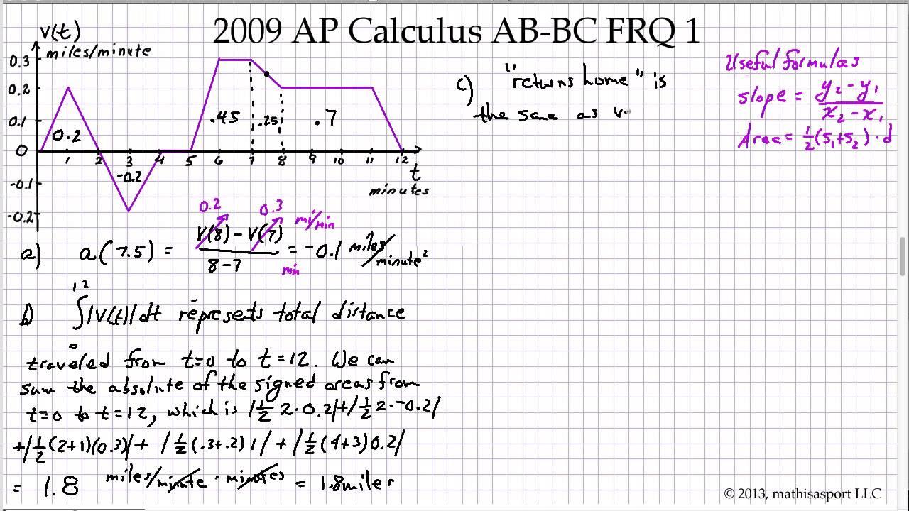 2009 AP Calculus AB-BC FRQ 1 - YouTube
