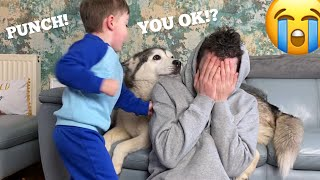 Will My Husky Protect Me From My Baby Prank!! [FUNNIEST REACTION EVER!!]