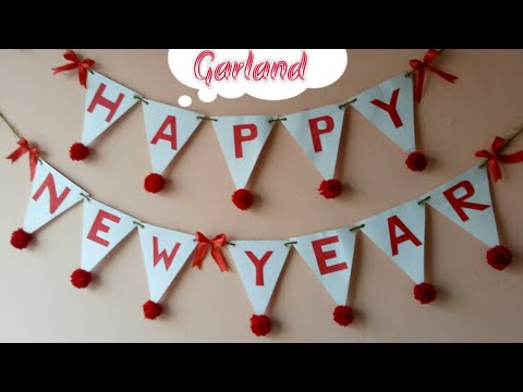 diy happy new year garlandnew year decor ideamaking banner for new year partyhome decor ideas