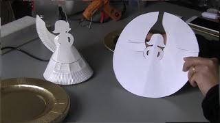 Anjo de pratos descartável de papel  – Passo a Passo com flor do jardim