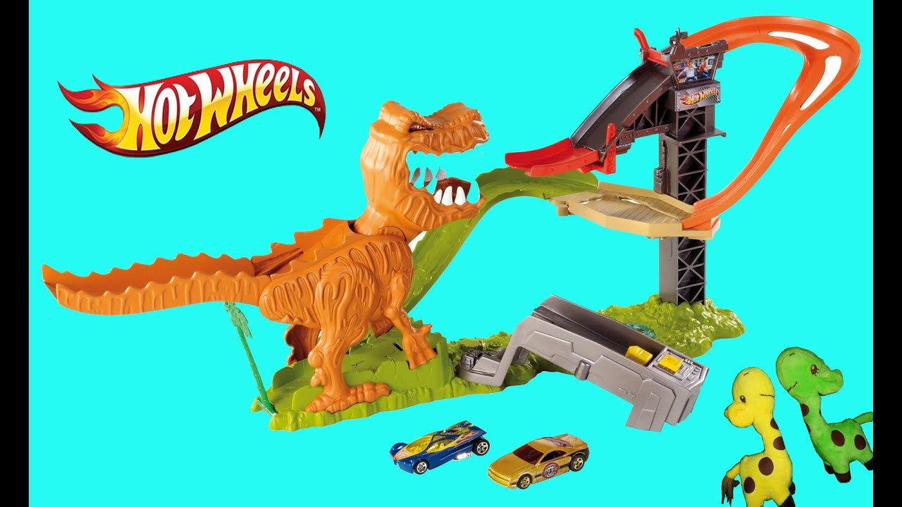 pista hot wheels t rex muerde coches dinosaurio youtube. Black Bedroom Furniture Sets. Home Design Ideas