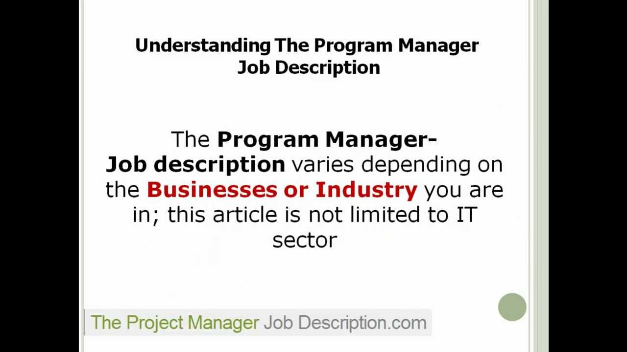 program manager job description program manager job description