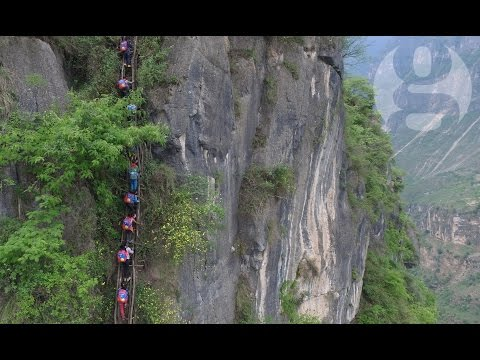 Chinese Children Climb 800m Cliff To Get Home From School