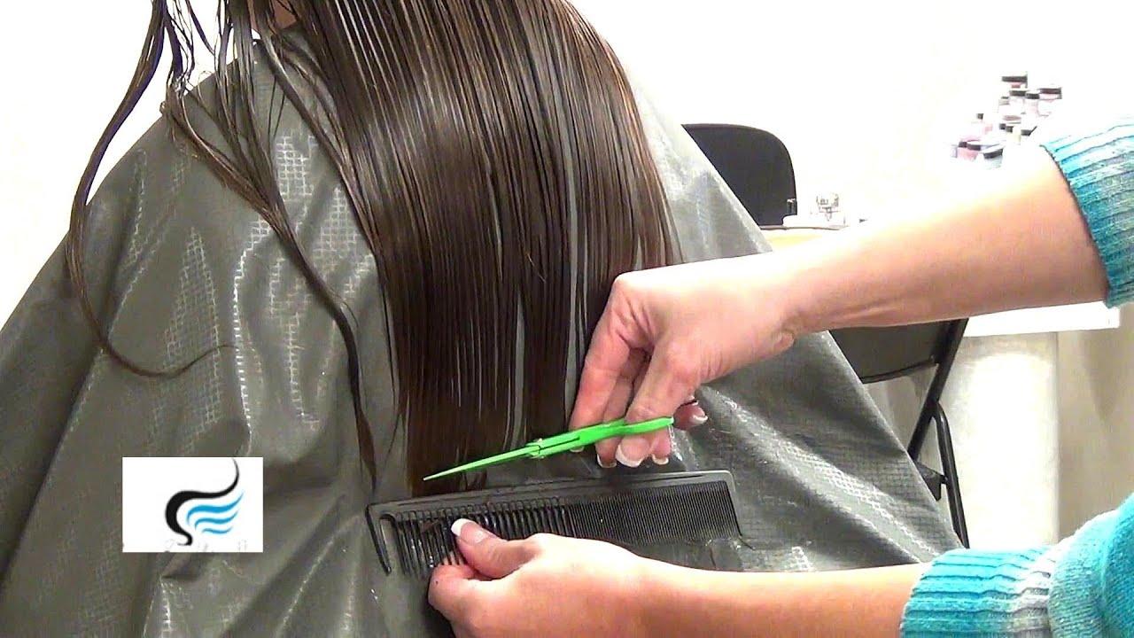 Cut Long Hair Straight Across  HairStyle  YouTube