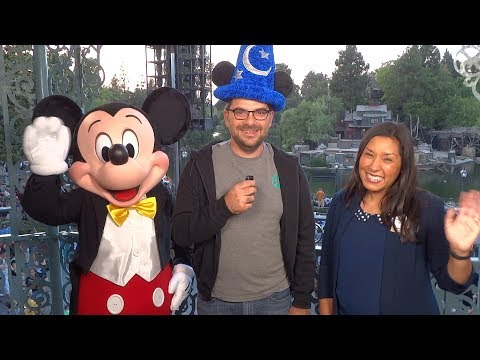 """Fantasmic!"" interview with Mickey Mouse and Disneyland representative Mirna Hughes on opening night"