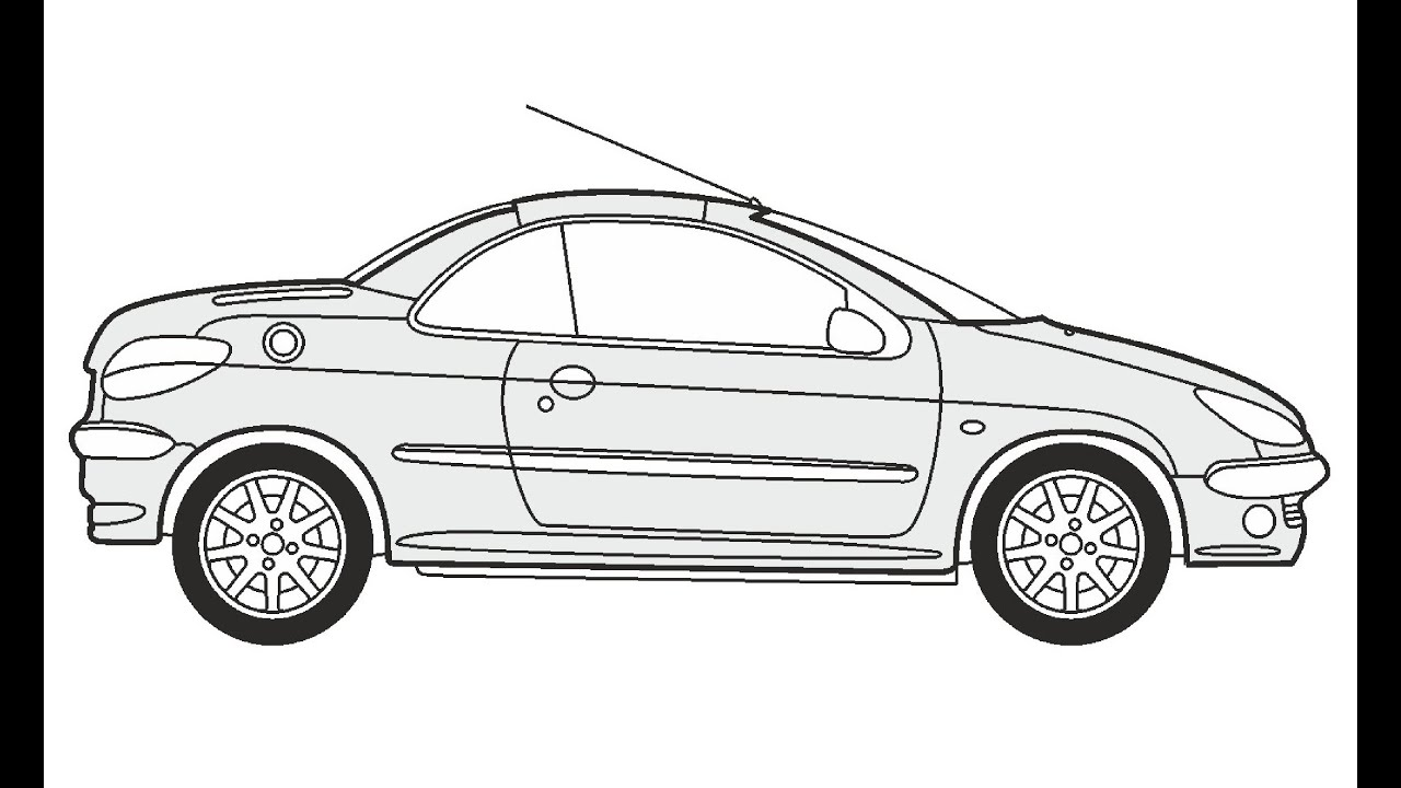 How to Draw a Peugeot 206 CC / Как нарисовать Peugeot 206