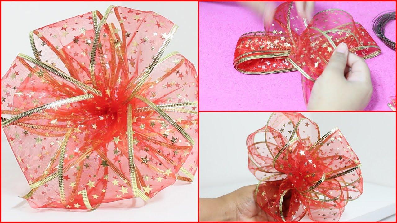 Especial de navidad c mo hacer un lazo navide o diy - Lazos para arbol de navidad ...