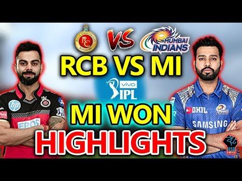 IPL 2018:MI VS RCB Live Match Today,#MIvsRCBLive Cricket Score:MI WON By46 Runs