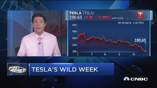 Tesla finishes wild week in red after some bearish calls from Wall Street